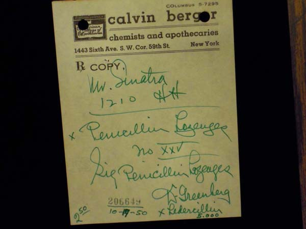 Prescription Written for Frank Sinatra